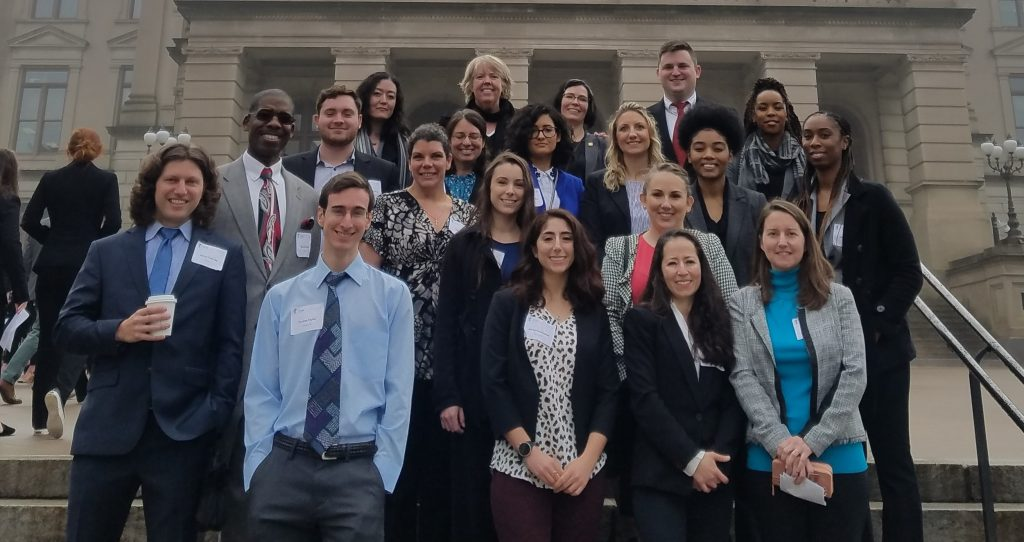Shown here in front of the Georgia State Capitol building are Chattahoochee Tech PTA students with their instructors, Stephanie Puffer, Aaron Freeman, and Morgan Marcum.