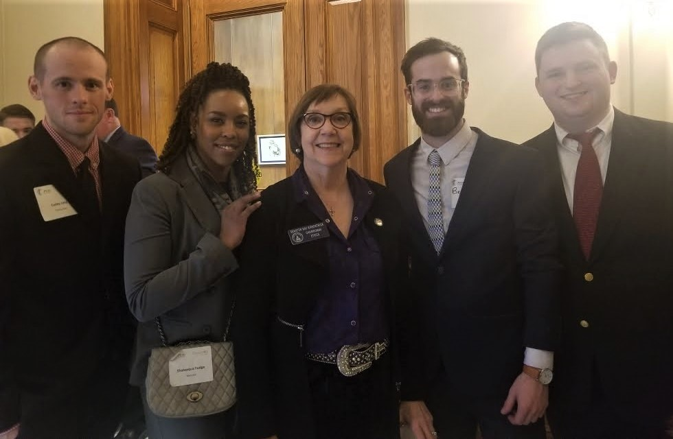 A group of Chattahoochee Tech students had the opportunity to speak with Sen. Kay Kirkpatrick during PT Day at the Capitol. Shown here, l-r, are Codey Long, Shateequa Fudge, Sen. Kirkpatrick, Ben McCutchen, and Taylor Thomas.