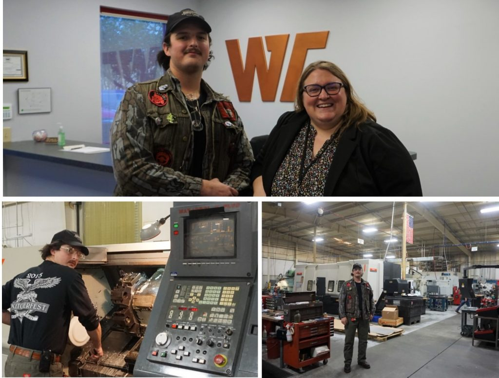 Chattahoochee Tech graduate Nicholas Long is putting his CNC Technology training to work at Win-Tech, Inc. in Cobb County. He is shown here on the job, and with Win-Tech Operations Director Allison Giddens, who also serves on the Chattahoochee Tech Foundation Board of Trustees.