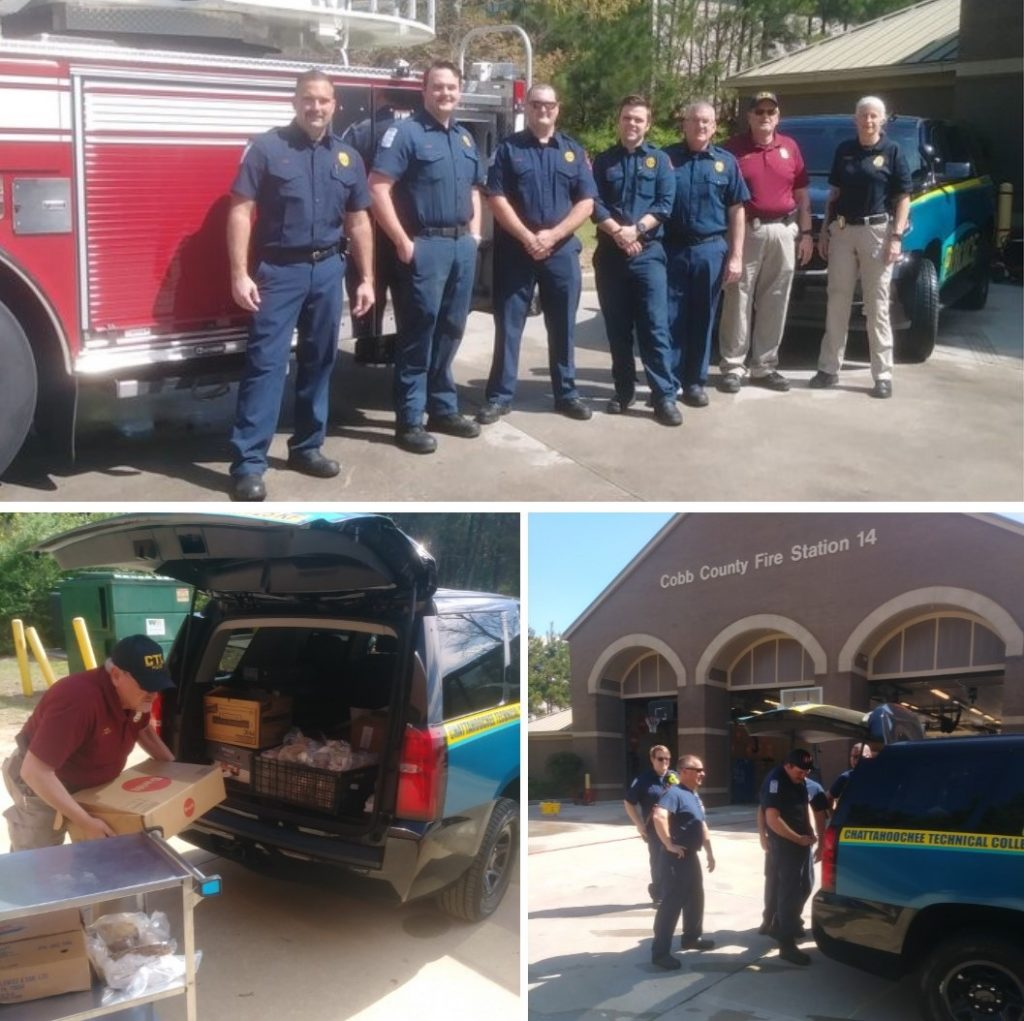 Chattahoochee Tech donated over 200 pounds of food to Cobb County firefighters to help during the COVID-19 pandemic.