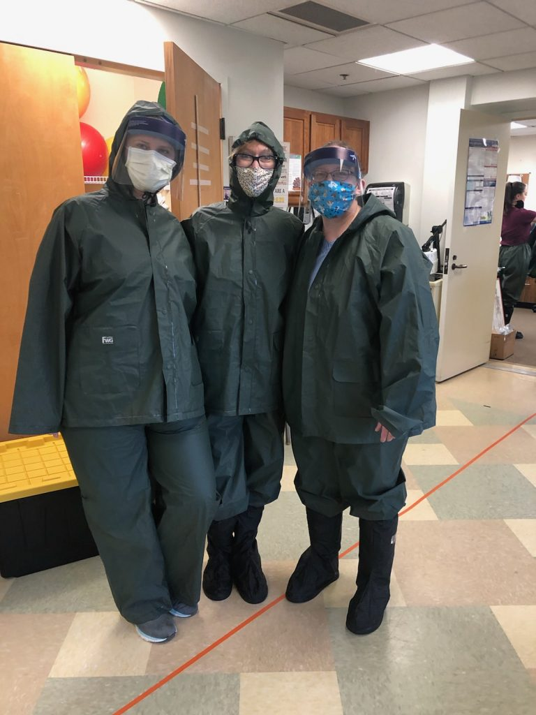 These Chattahoochee Tech graduates who are working as Physical Therapist Assistants during the global COVID-19 coronavirus pandemic must wear Personal Protective Equipement (PPE) on the job.
