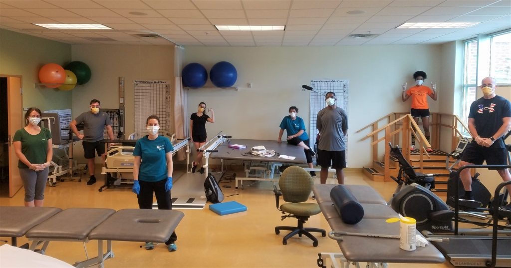Toward the end of the spring semester, Chattahoochee Tech students participated in carefully controlled, on-campus instruction for essential labs in many programs. Shown here are students in the Physical Therapist Assistant (PTA) program.