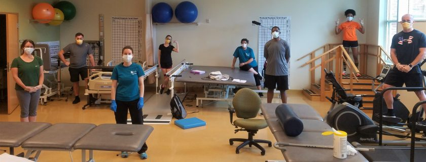 Toward the end of the spring semester, Chattahoochee Tech students participated in carefully controlled, on-campus instruction for essential labs in many programs. Shown here are Physical Therapist Assistant (PTA) program.