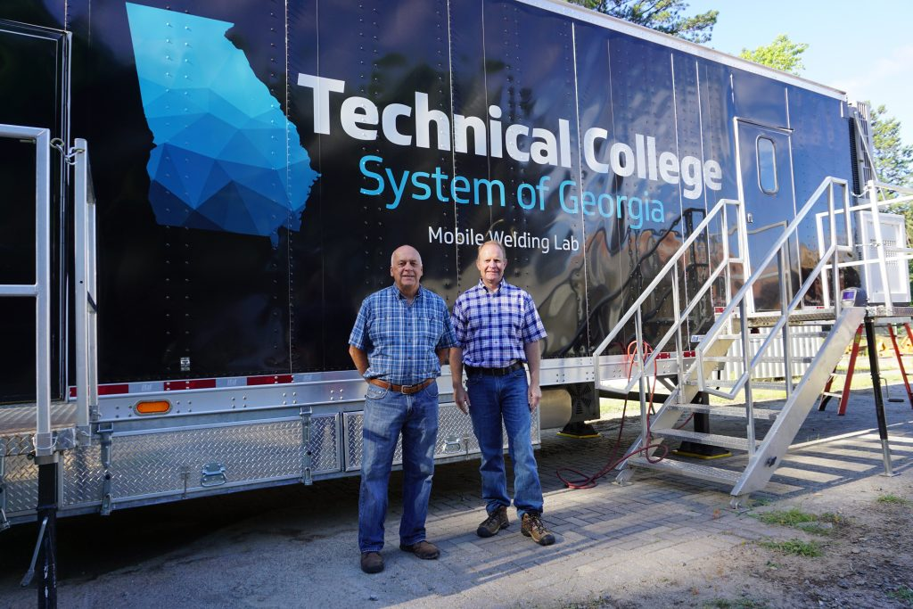 Shown, l-r, in front of the TCSG mobile welding trailer are Mark Howington and Shane Evans.