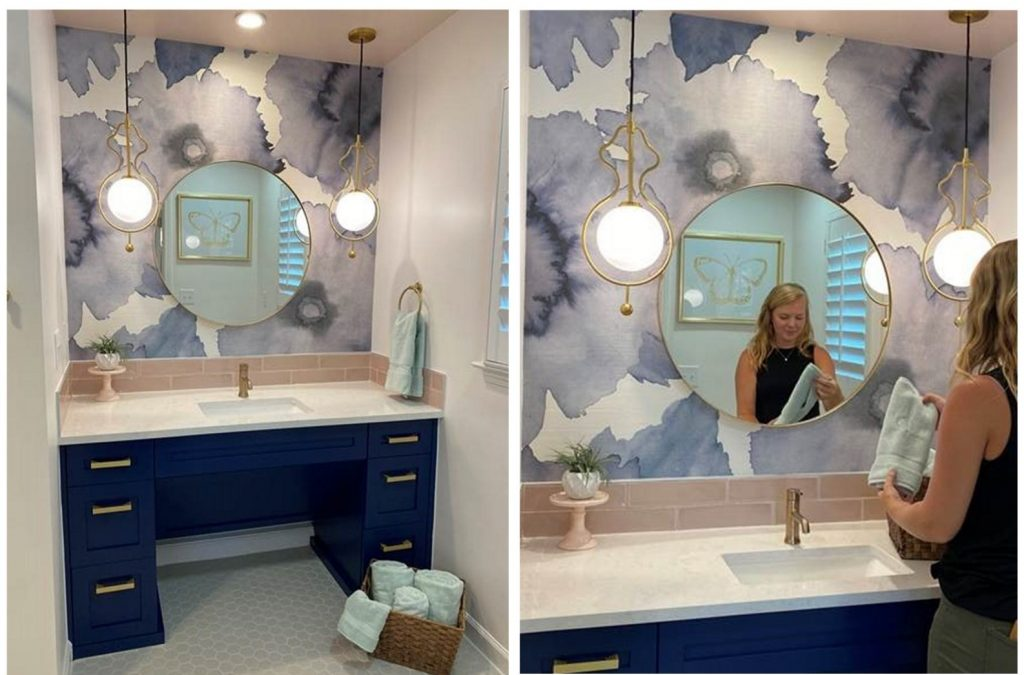 The class project included this makeover for a wheelchair accessible bathroom.