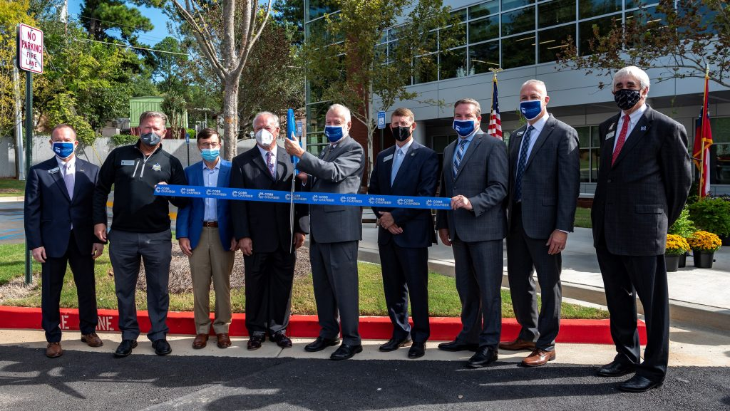 State and Local Leaders cut the ribbon for the new health science building
