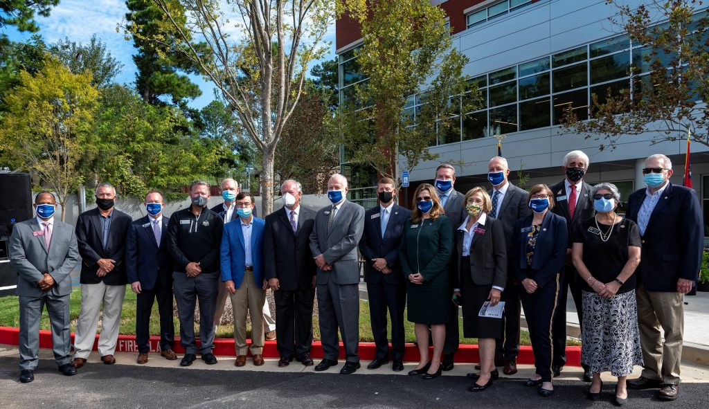 State and local community leaders were present to celebrate the opening of the college's health science building.