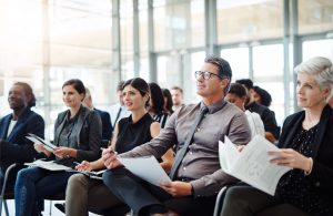 Group of employees listening to a presentation