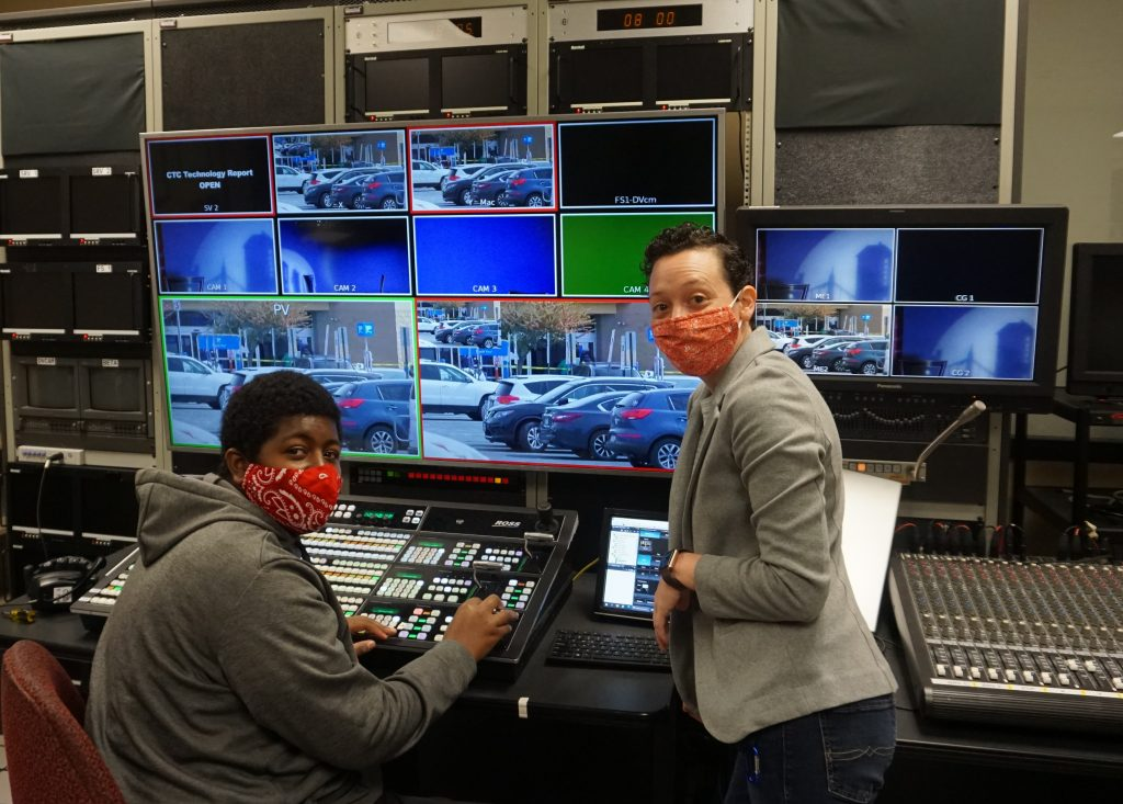 """Shown here, l-r, are Chattahoochee Tech Film and Video Production student Kenneth """"Trey"""" Randolph and Chattahoochee Tech Instructor Meredith Muse."""