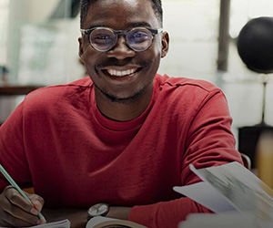 A smiling student