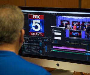 Student editing Fox 5 news