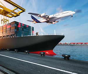 A shipping ship and a plane