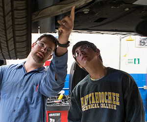 Two men looking under a car