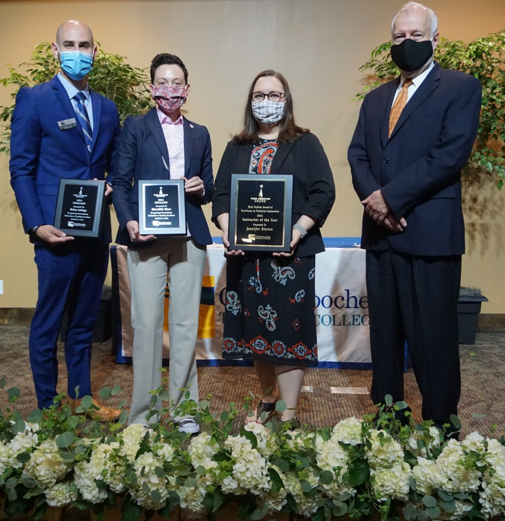 Instructors who were the top finalists for this year's award included Brian LeSage, Meredith Muse along with award winner Jennifer Staton. Shown here, l-r, are LeSage, Muse, Staton and Dr. Ron Newcomb.