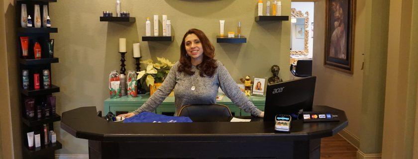 Woman at counter