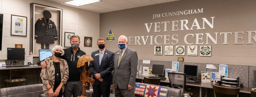 Masked people at veteran center